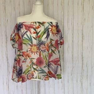 i jeans by Buffalo Tops - i Jeans by Buffalo Floral Open Shoulder Blouse